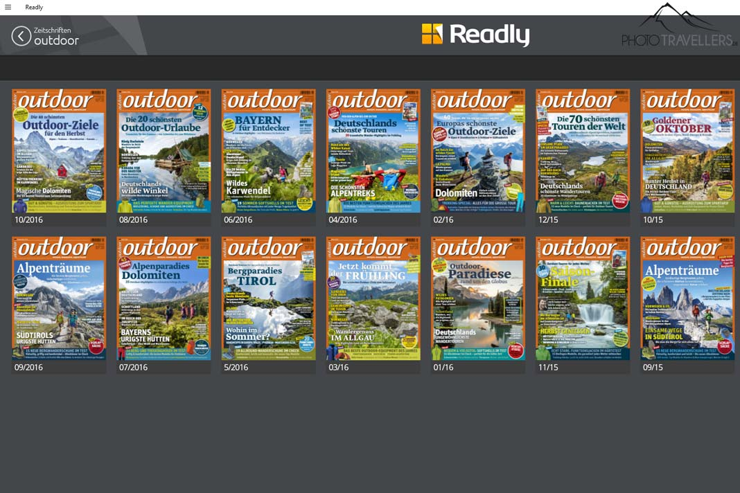 Die Auswahl der Outdoor-Magazine in der Windows-10-App