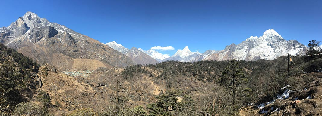 Panorama Mount Everest, Lhotse und Ama Dablam
