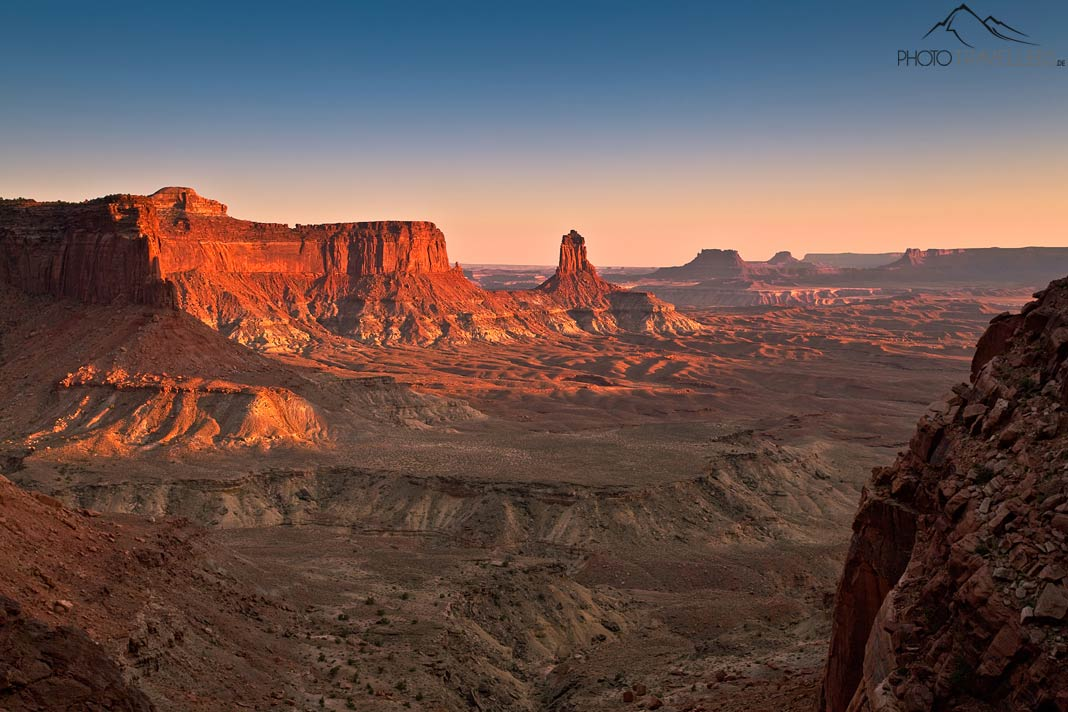 Blick in den Canyonlands Nationalpark am Abend