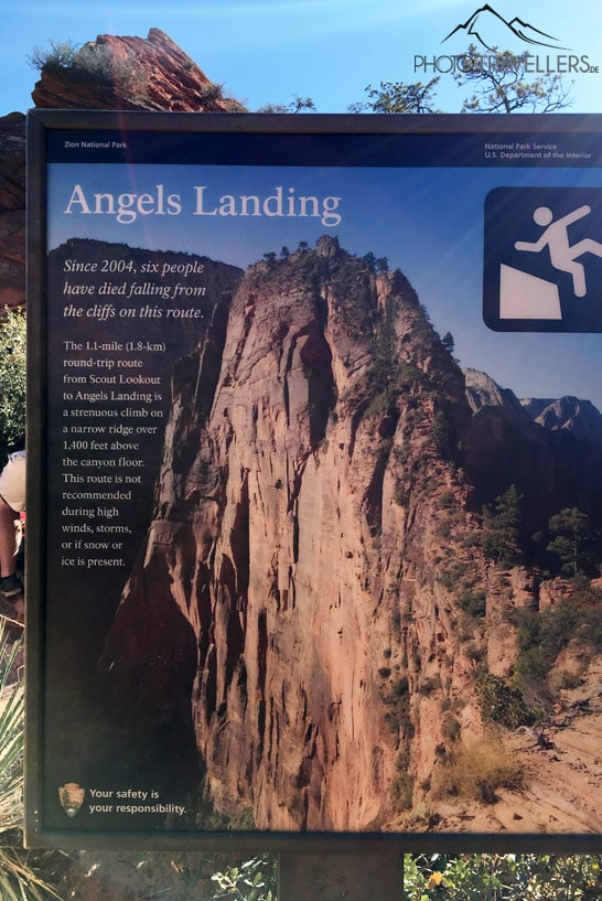 Warnschild Angels Landing