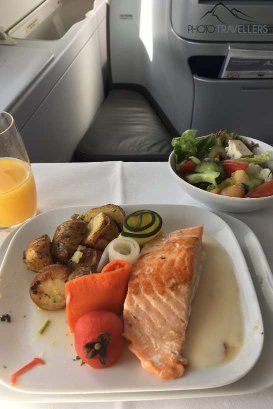 Mittagessen in der Lufthansa Business Class