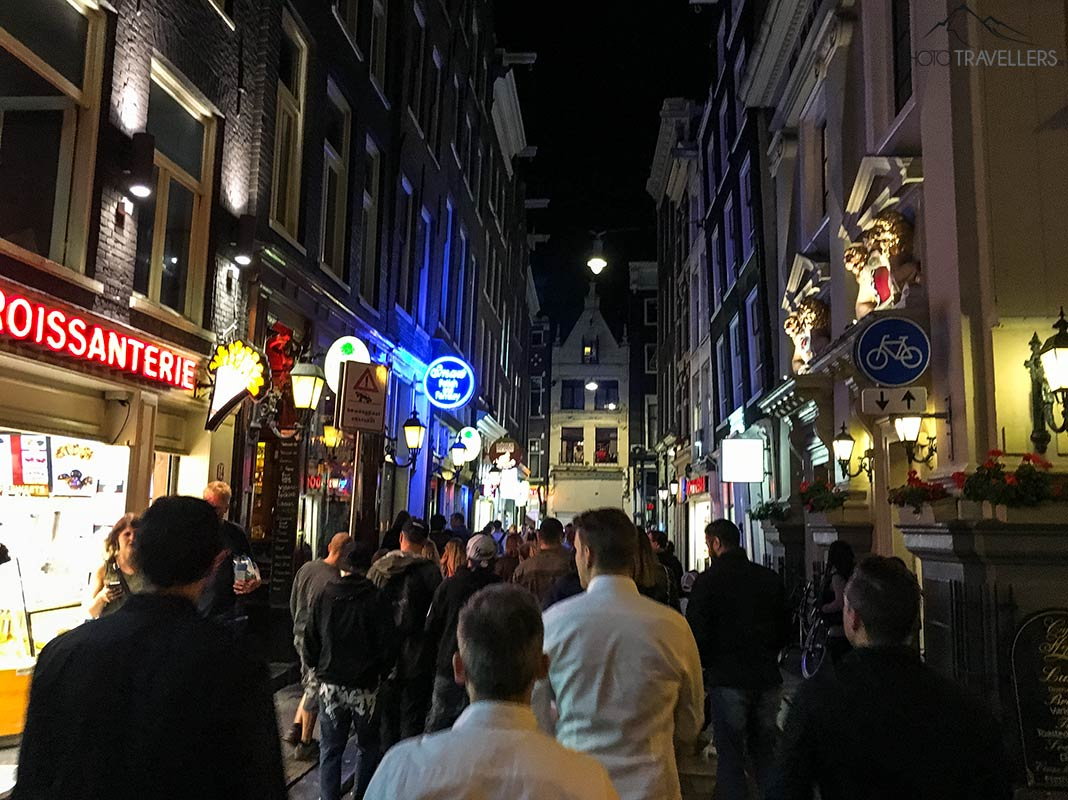 In the evening in the red light district of Amsterdam